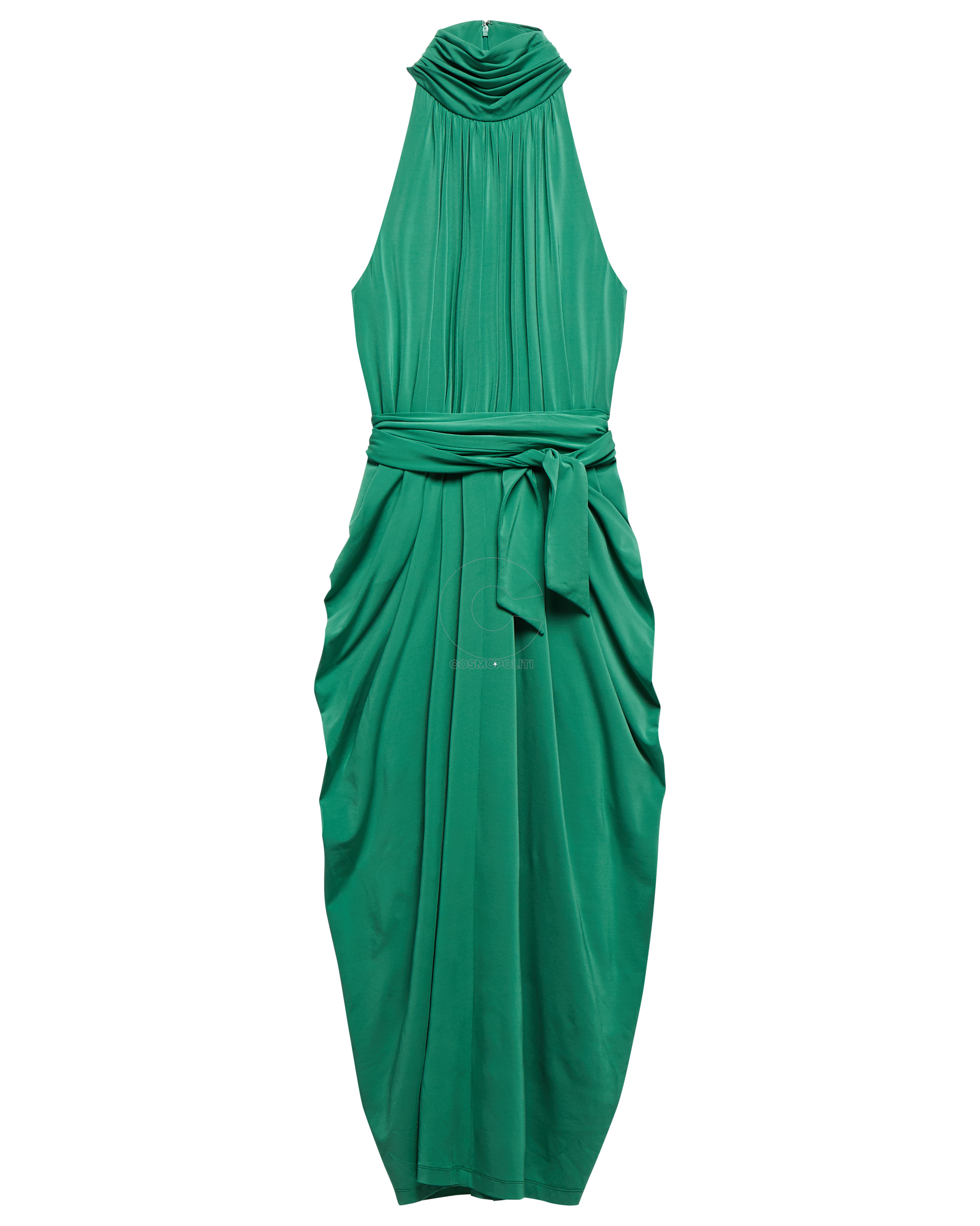 WW0WW25451906 ZENDAYA HALTER NECK DRAPE DRESS JUNIPER
