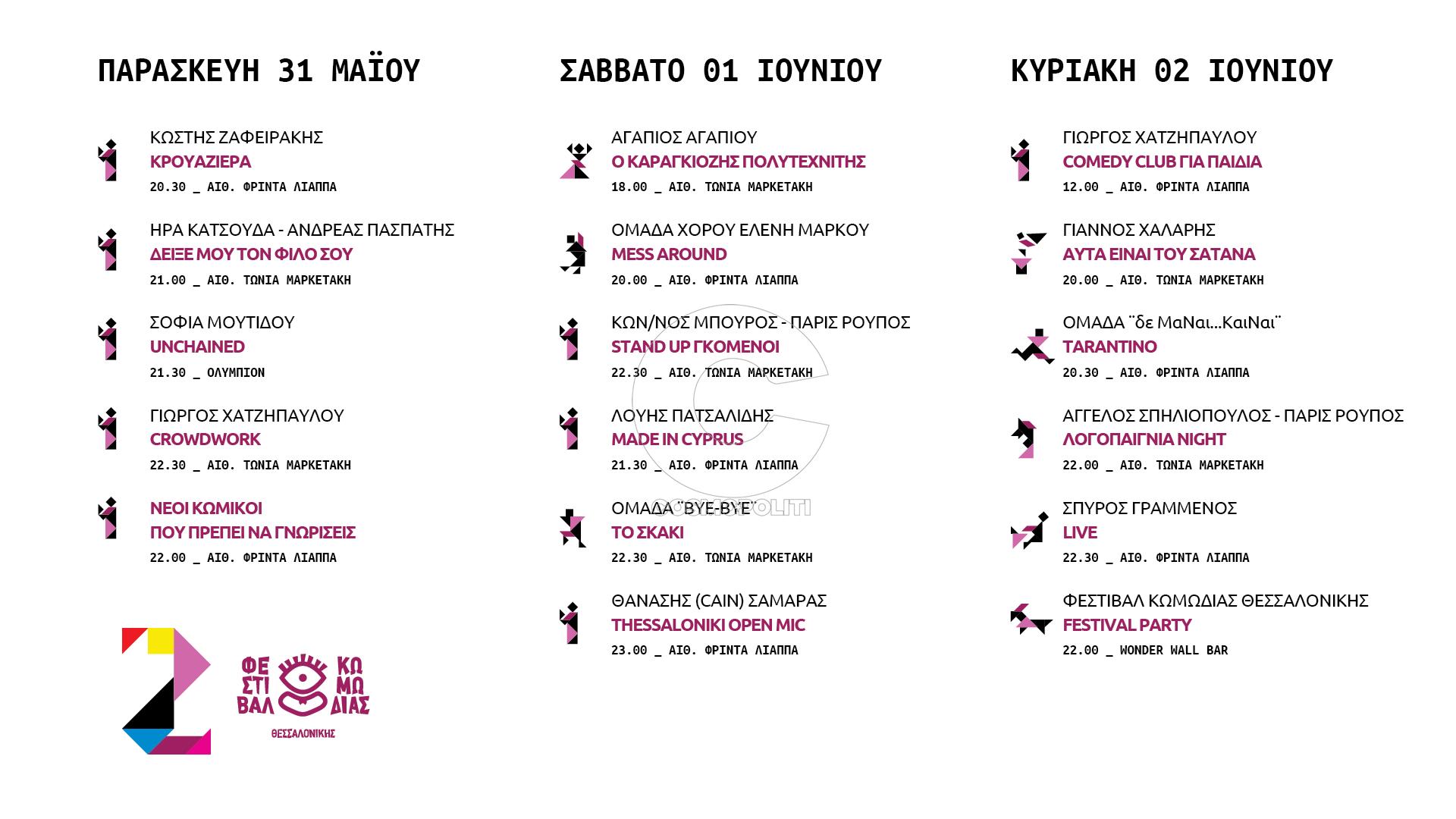 Πρόγραμμα 2ο Φεστιβάλ Κωμωδίας Θεσσαλονίκης