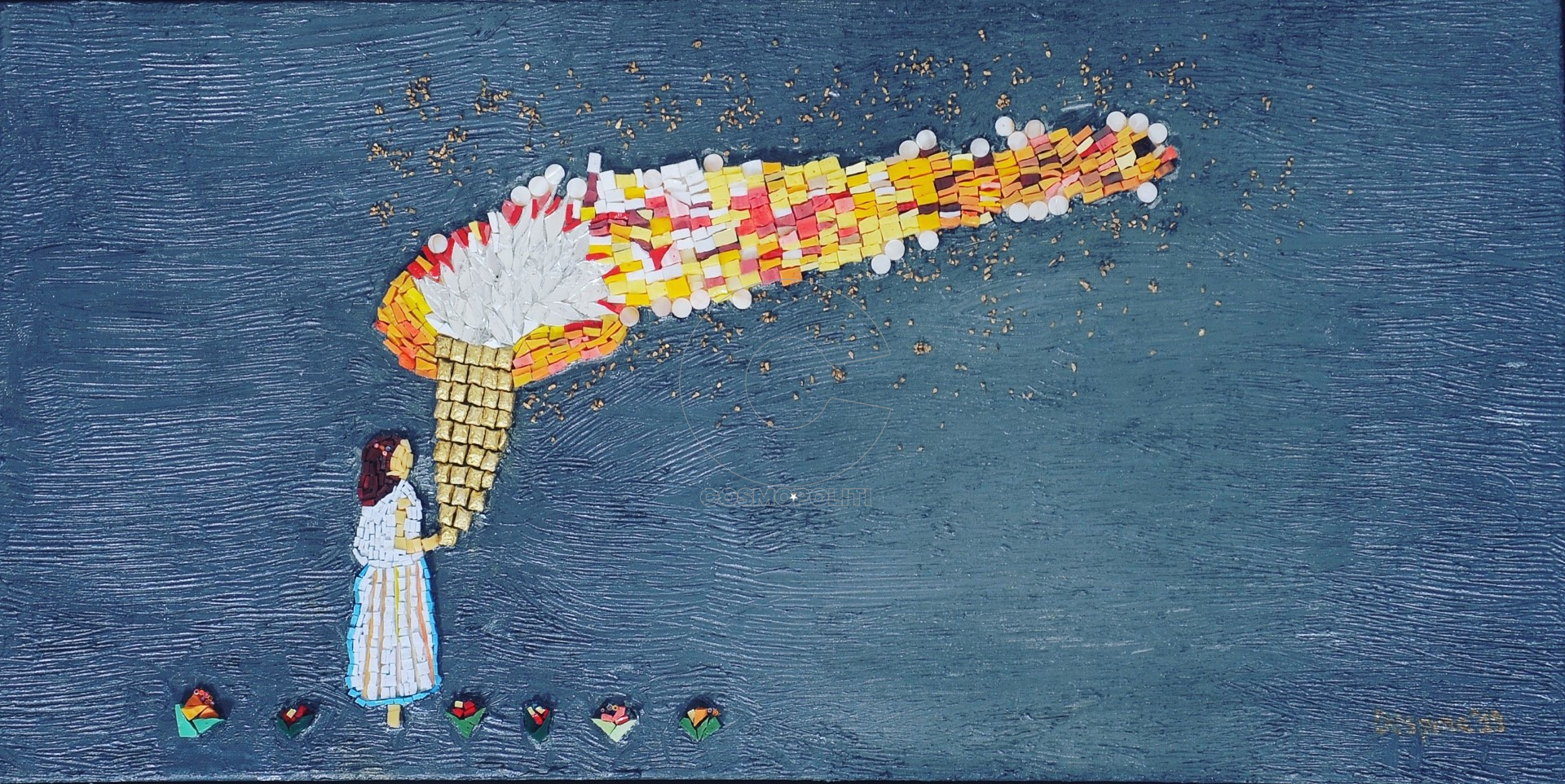 Despina Georgiadi - Thessalonikeos, Explosion, 85x45x3,5cm, Mixed media