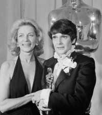 "Presenter Lauren Bacall with winner of Oscar for Best Costume Design, Theoni V. Aldredge, for the movie ""The Great Gatsby"" at the Academy Awards in Los Angeles Tuesday April 8, 1975. Aldredge died Friday at 78."