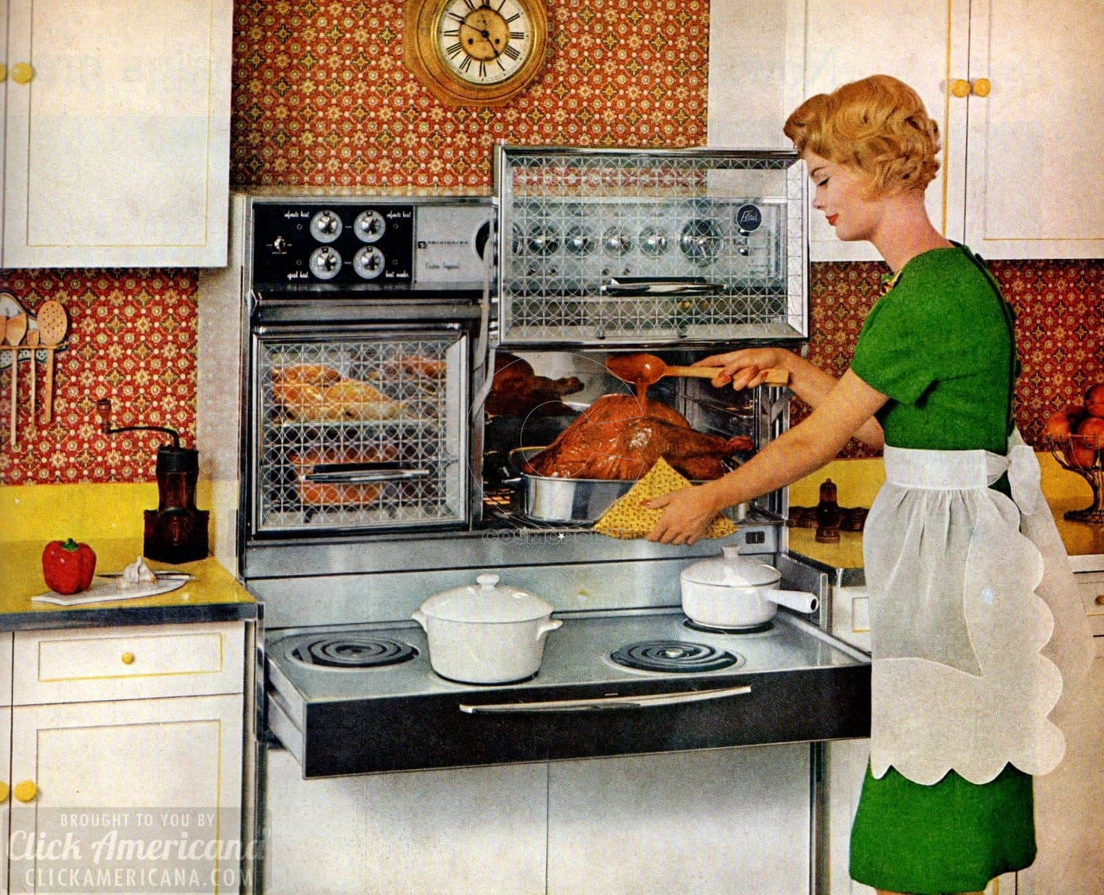 Vintage-kitchen-appliances-from-1961-Frigidaire-Flair-pull-out-range-stove-and-ovens-with-glass-doors-that-lift-up