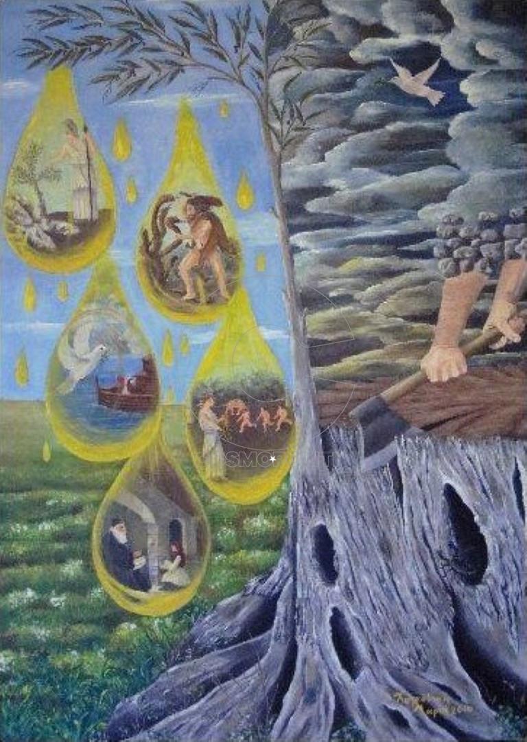 Χαρκούτση Μαρία, Τα δάκρυα της αρχαίας ελιάς,100x70cm, λάδι σε καμβά