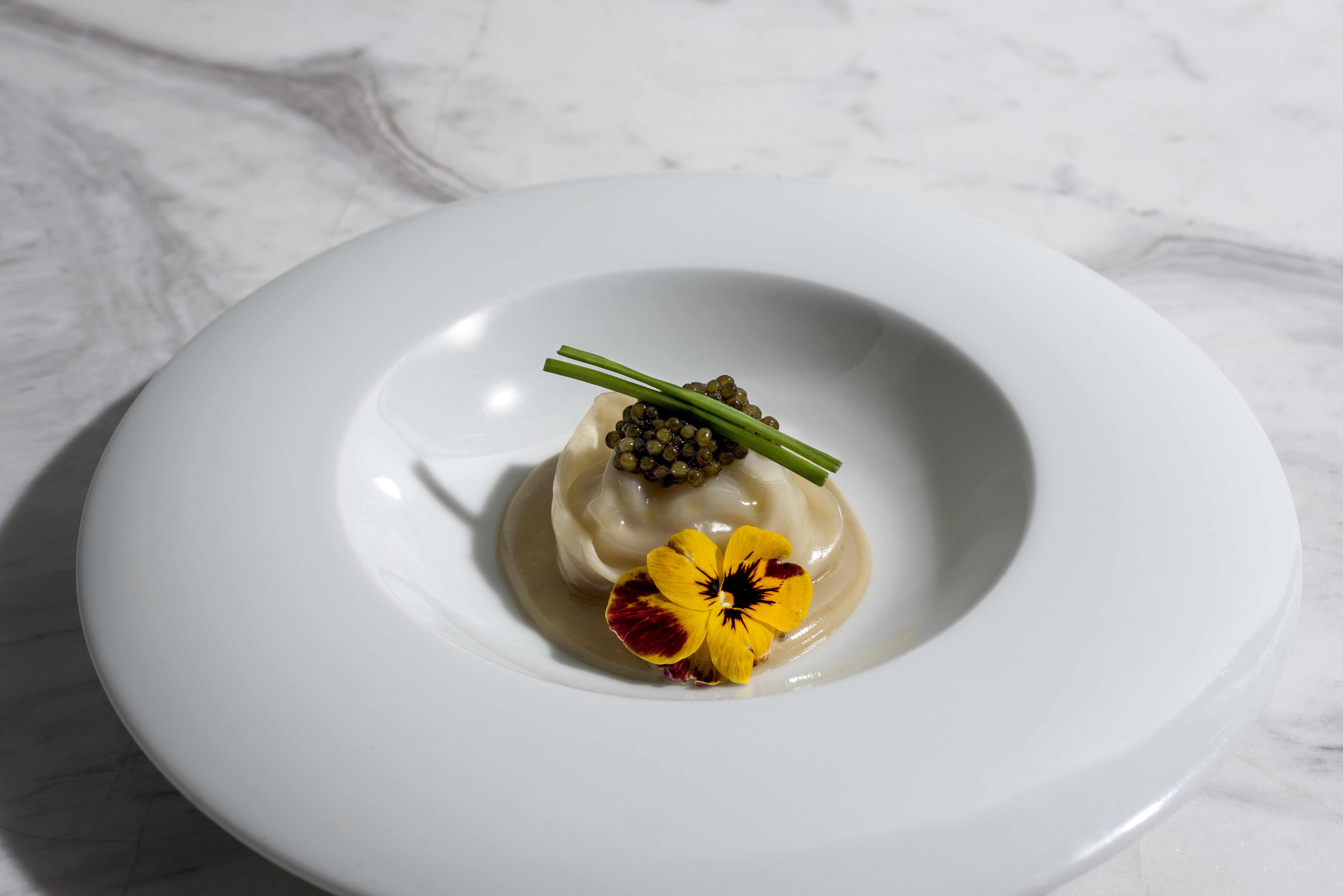 Langoustine Dumpling Nobu Style with Foie Gras Sauce.