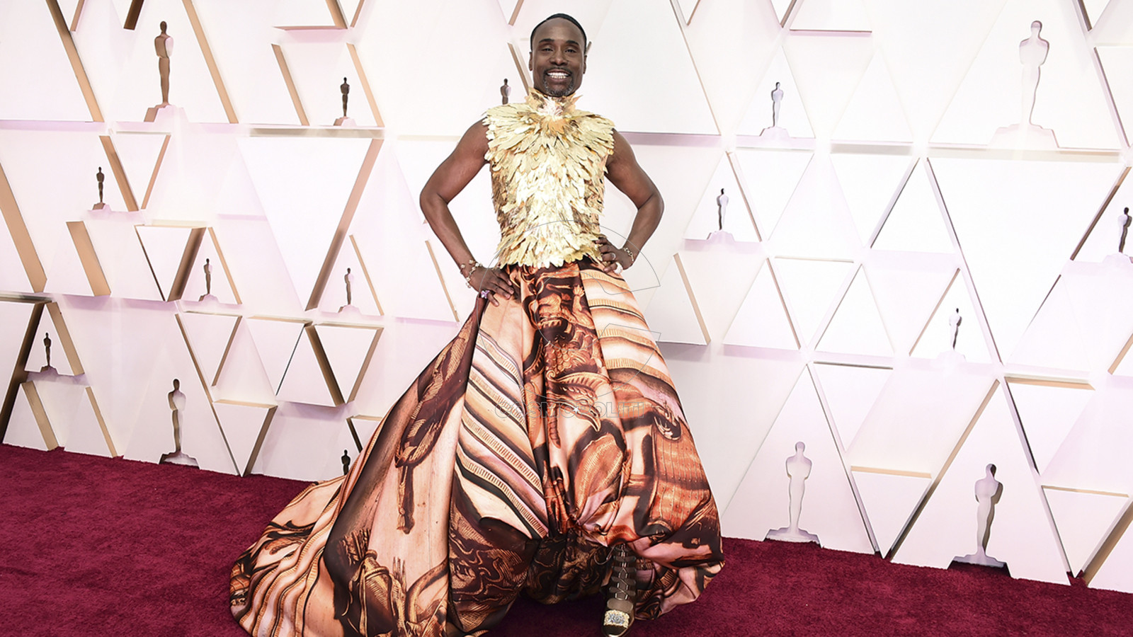 Billy Porter arrives at the Oscars on Sunday, Feb. 9, 2020, at the Dolby Theatre in Los Angeles. (Photo by Jordan Strauss/Invision/AP)