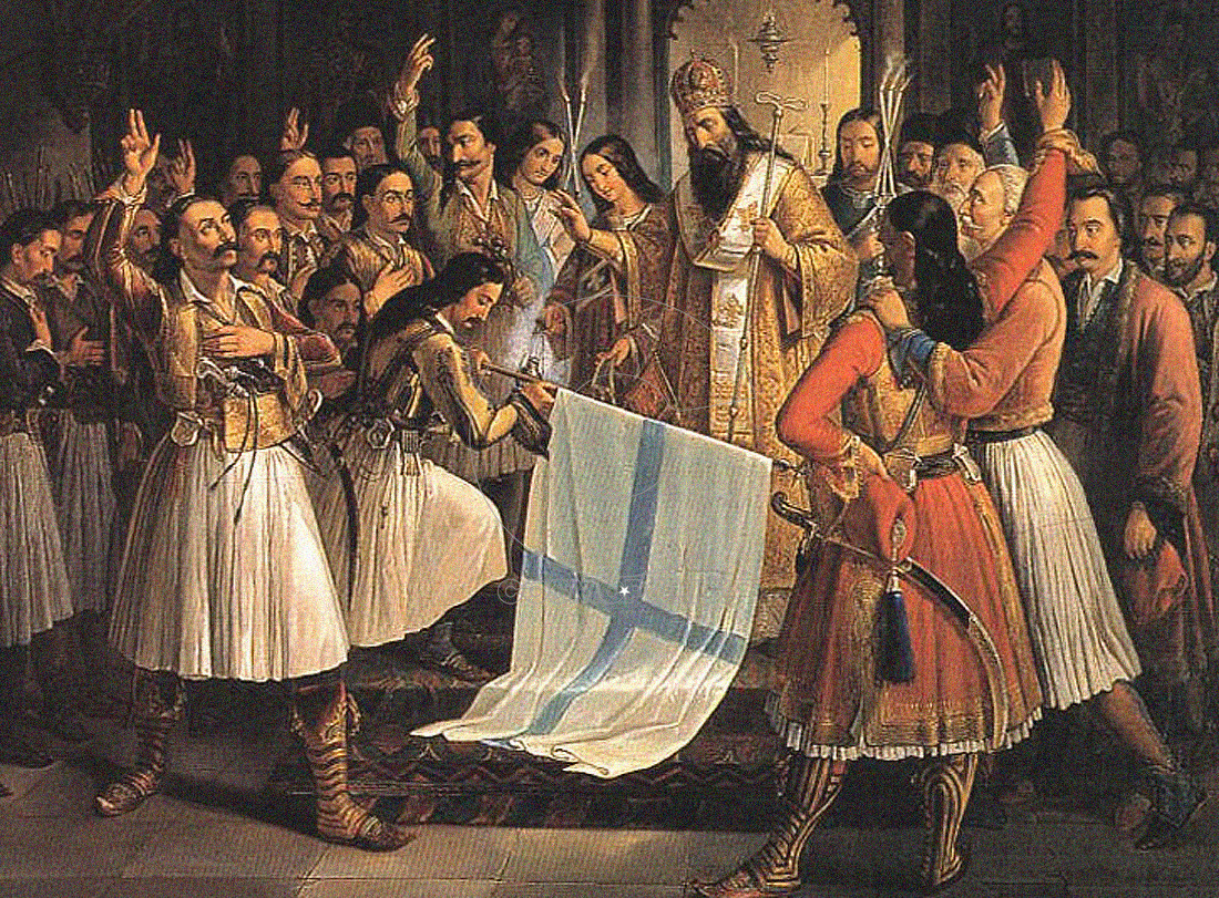 Germanos, Metropolitan of Patras, Blessing the flag of Revolution, Theodoros Vryzakis, 1865, 16,4x1,26m, oel on canvas. National Art Gallery and Alexandros Soutzos Museum, Athensεο Αλεξάνδρου Σούτζου