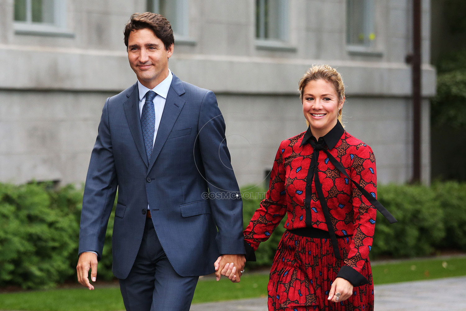 Canada's Prime Minister Justin Trudeau and his wife Sophie Gregorie Trudeau arrives at Rideau Hall in Ottawa on September 11, 2019. - Trudeau will officially kick off what is set to be a grueling campaign for a second term as he takes on surging rivals in Canada's October 21 national elections. (Photo by Dave Chan / AFP) (Photo credit should read DAVE CHAN/AFP via Getty Images)