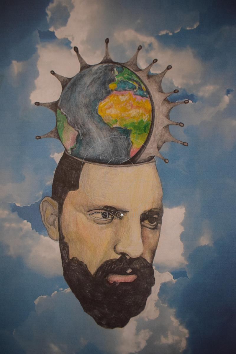 Κωστας Λαλες - Kostas Lales, Μισή ζωή - Half life, 29,7x21cmA4, Μικτή τεχνική - Mixed media