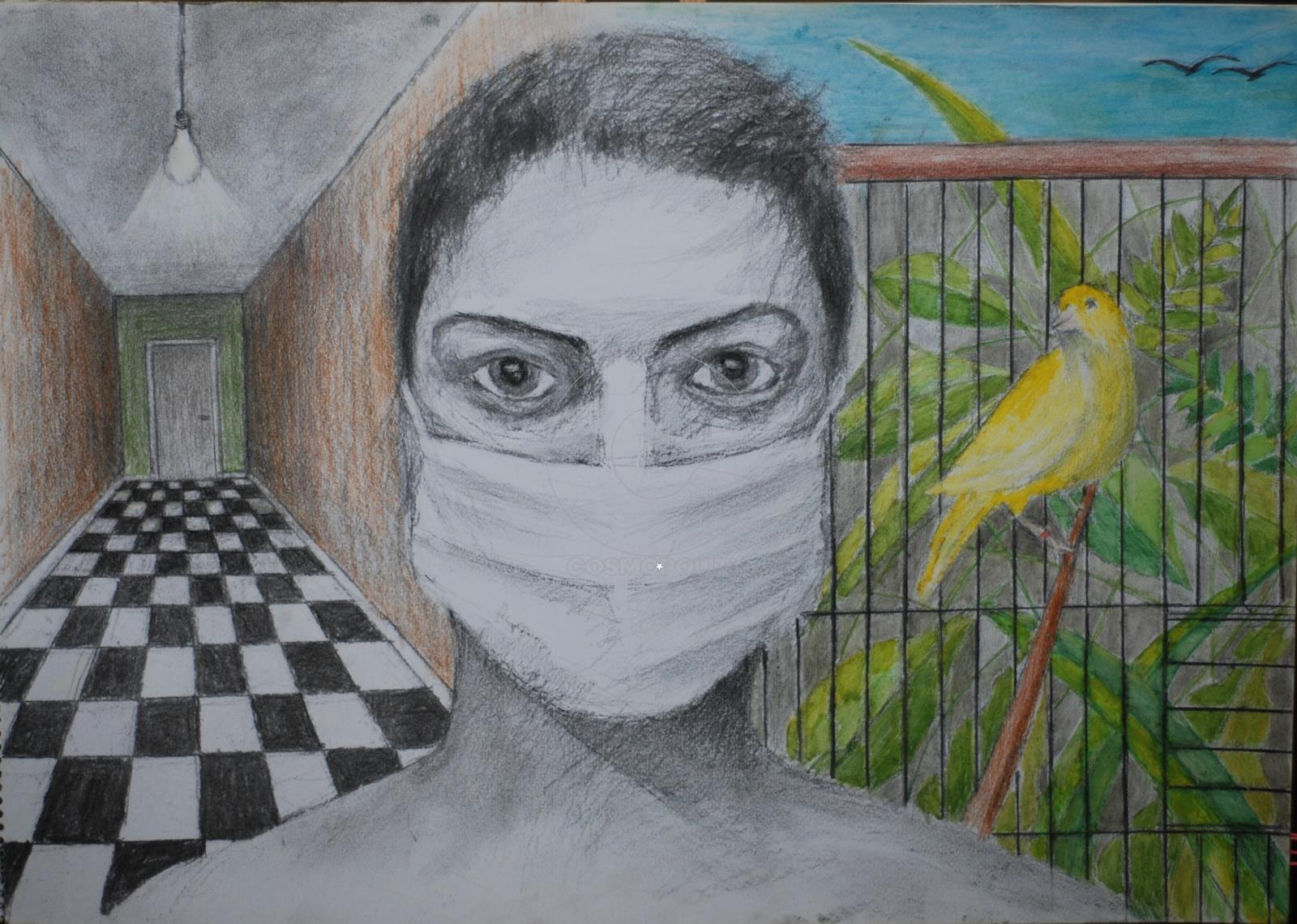 Μαριλένα Ζολώτα - Marilena Zolota, Υγιεινή ζωή - Healthy life, 34x48cm, Χρωματιστά μολύβια και κάρβουνο - Colored pencils and charcoal