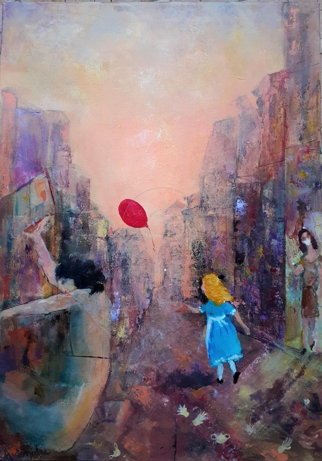 Σοφία Αηδονίδου - Sofia Aidonidou, Η Αλίκη δε μένει πια εδώ-Alice Doesn't Live Here Anymore, 70x50cm, Ακρυλικά σε καμβά - Acrylics on canvas