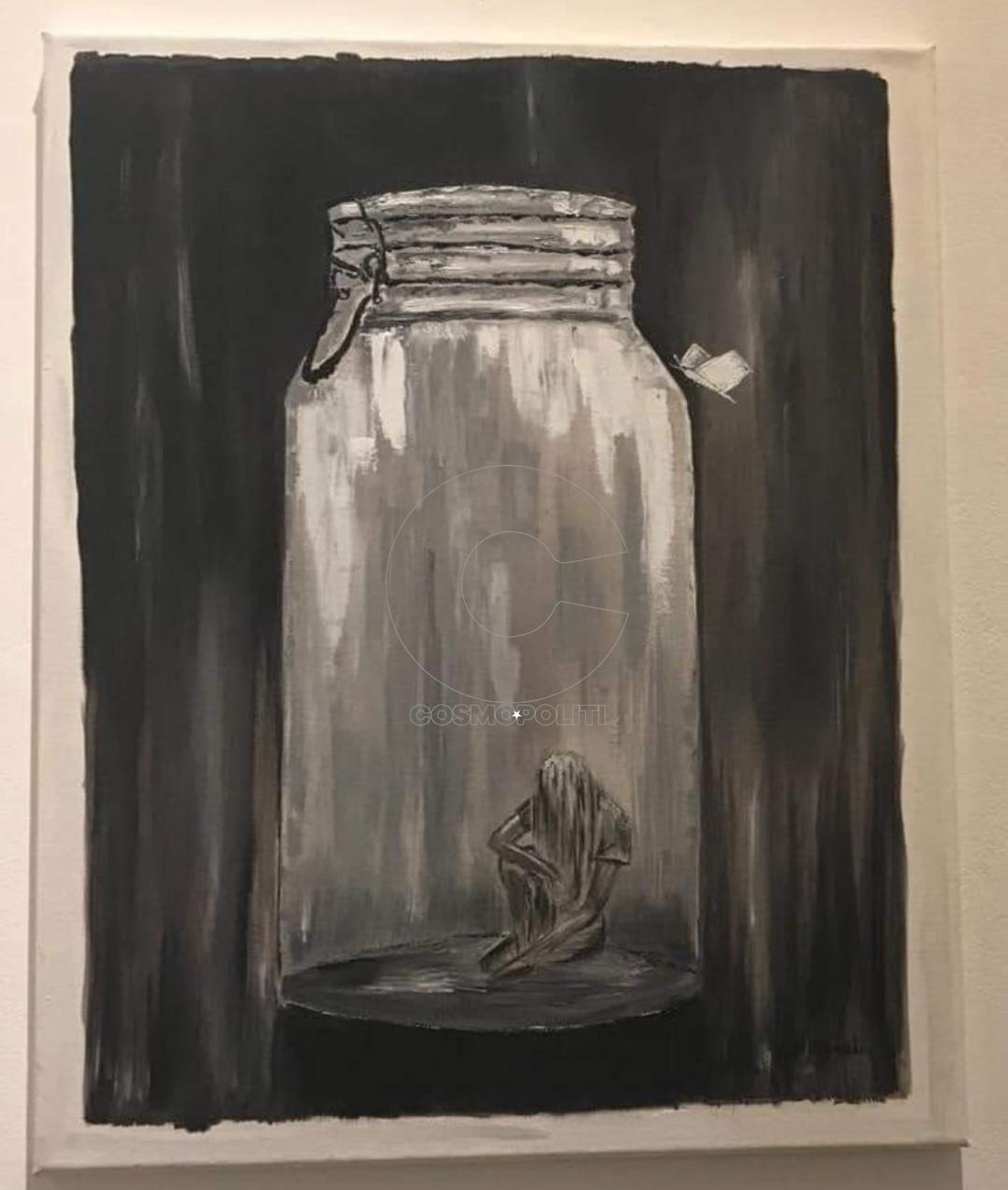 Άννα Κουνάδη - Anna Kounadi, Εγκλωβισμένη - Isolated, 45x35cm, Λάδι σε καμβά - Oil on canvas(1)