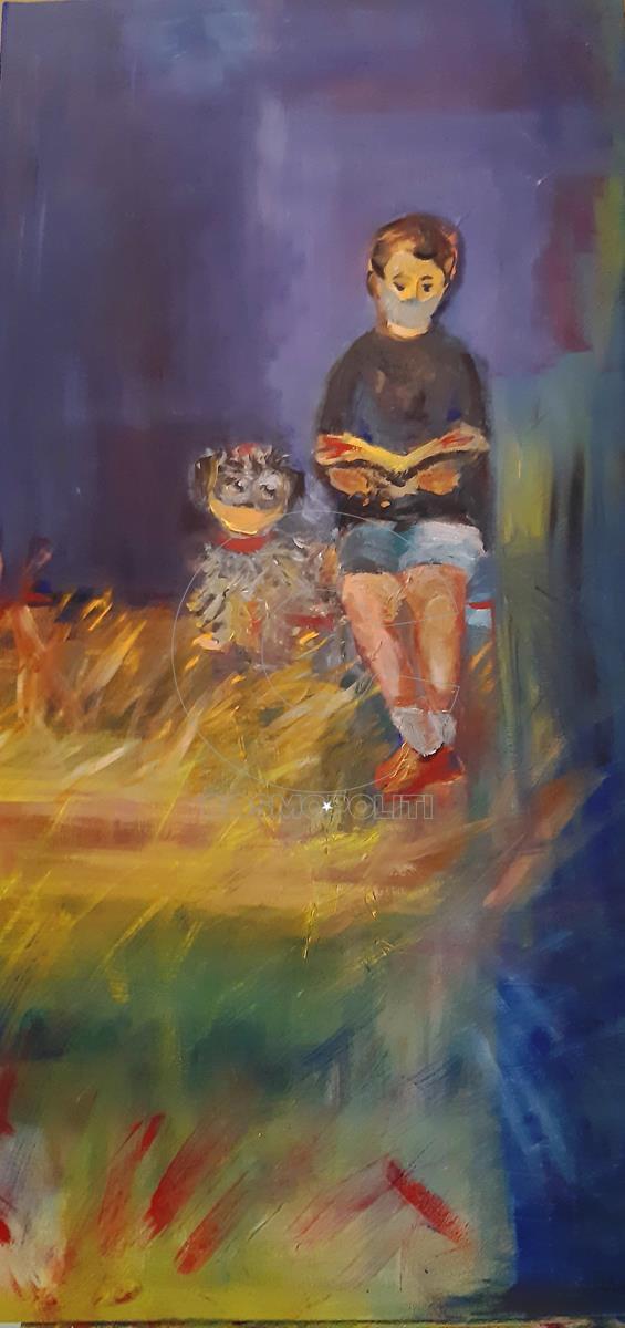 Αντωνία Μαντζούκα - Antonia Mantzouka, Εγκελισμός - Ιncarceration, 100x50cm, Λάδια - Oil painting