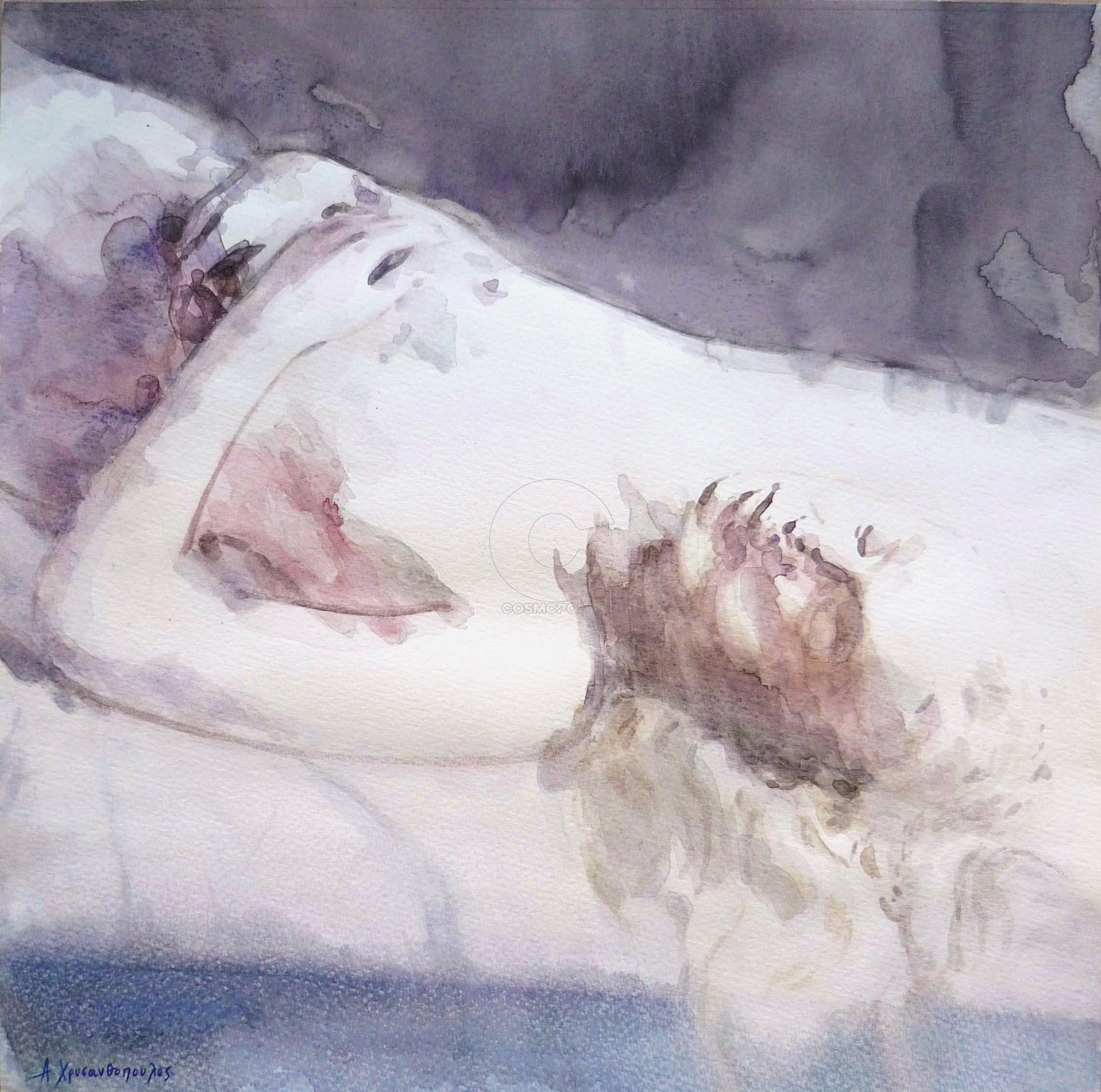 Αριστείδης Χρυσανθόπουλος - Aristidis Chrysanthopoulos, Sleeping beauty, 40x40cm, Ακουαρέλα - Watercolor