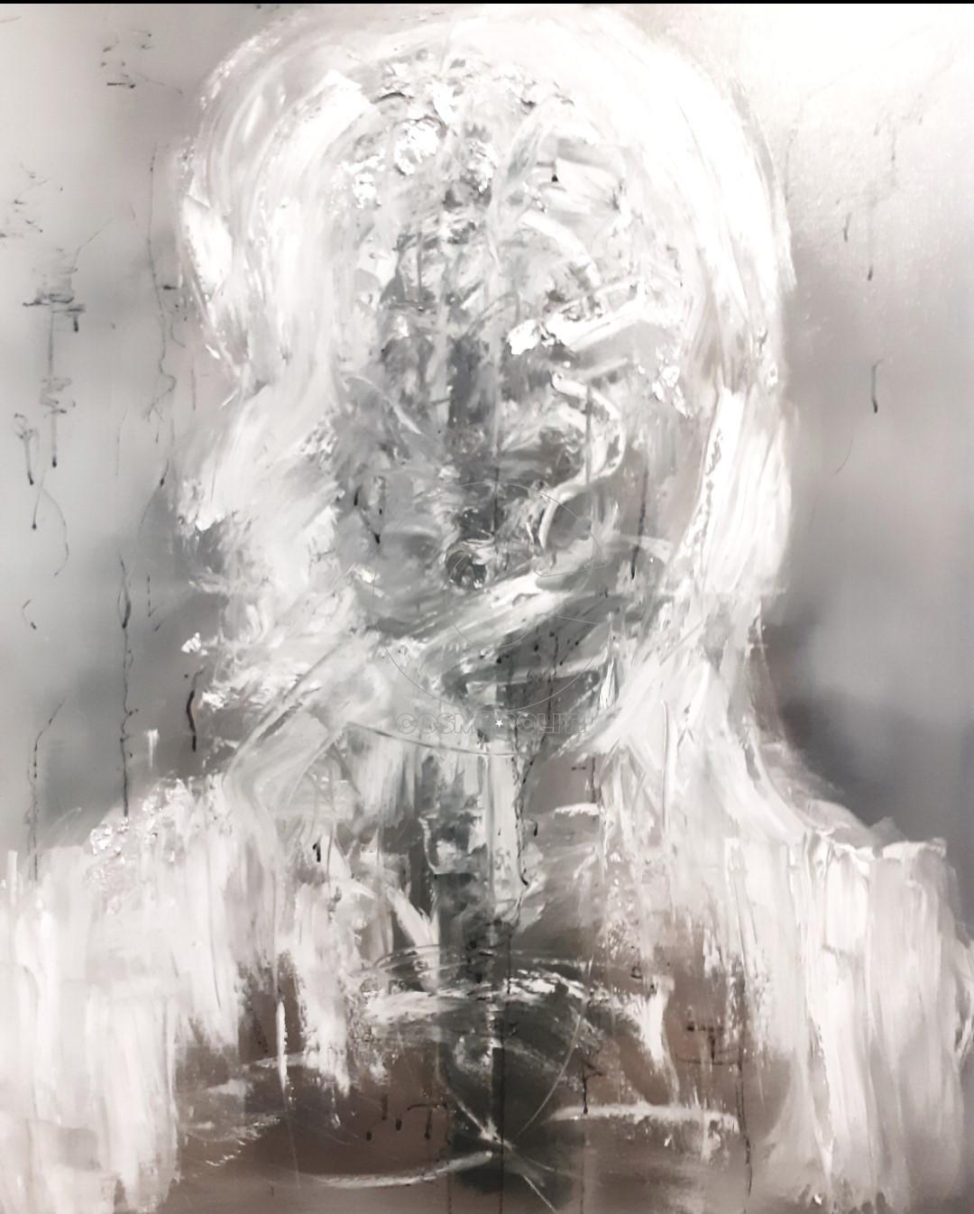 Κέλη Μελά - Keli Mela, OK Handstrap, 100x90cm, Λάδι, μελάνι, φύλλα ασήμι - Oil, ink, silver leaves