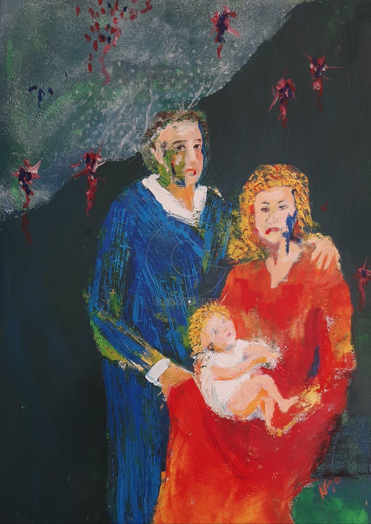 Κατερίνα Γιαζιτζόγλου - Katerina Giazitzoglou, Coronavirous family, 70x50cm, Ακρυλικά - Acrylics
