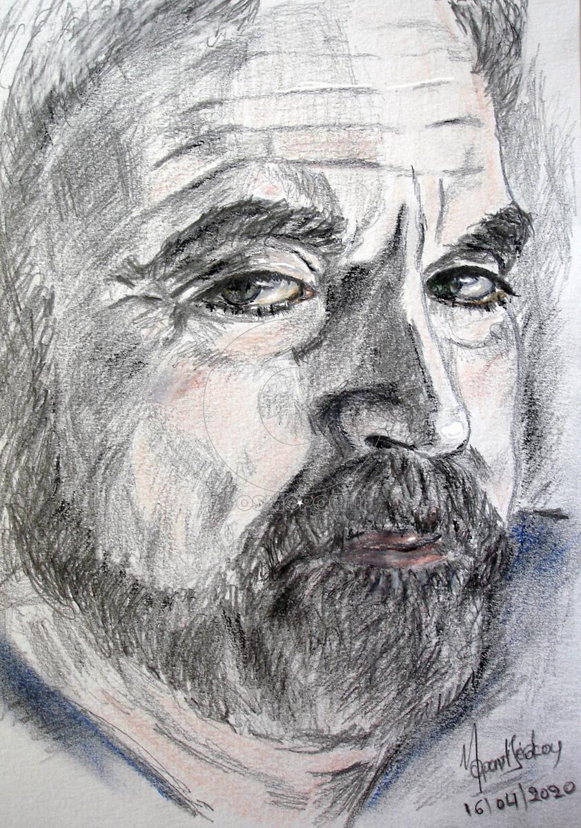 Μάτα Φραντζέσκου - Mata Frantzeskou, Χείλη σφιχτά - Lips tightly, 28,5x21cm, Μολύβια και κάρβουνο - Pencils and charcoal