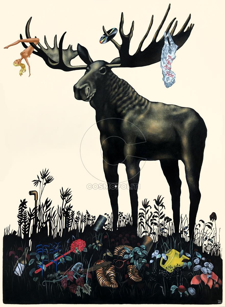 Τόνια Ανδριώτη - Τοnia Andrioti, Άνοιξη - Spring, 173x127cm, Ακρυλικό μελάνι σε μουσαμά - Αcrylic ink on canvas
